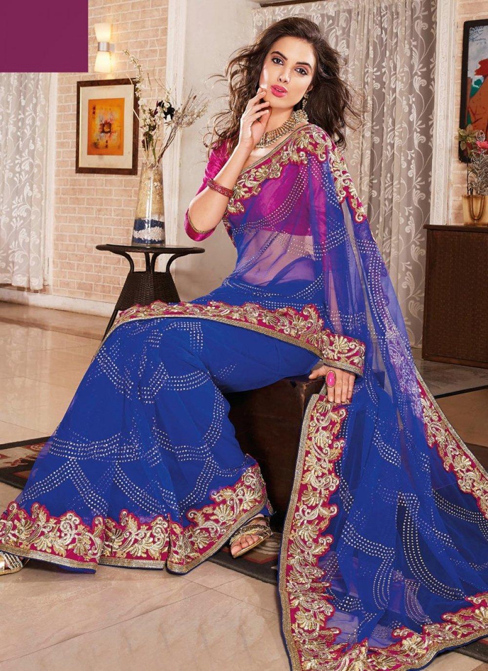 Blue Stone Work Wedding Saree