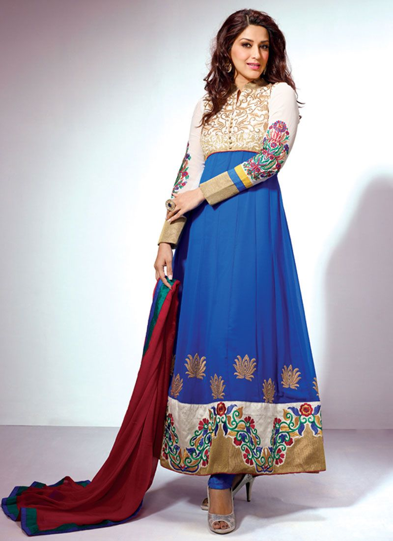 Blue Zari Border Work Anarkali Suit