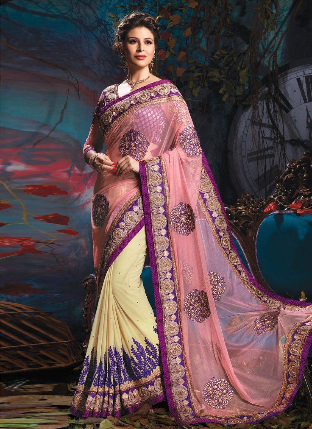 Cream Aari Work Designer Saree
