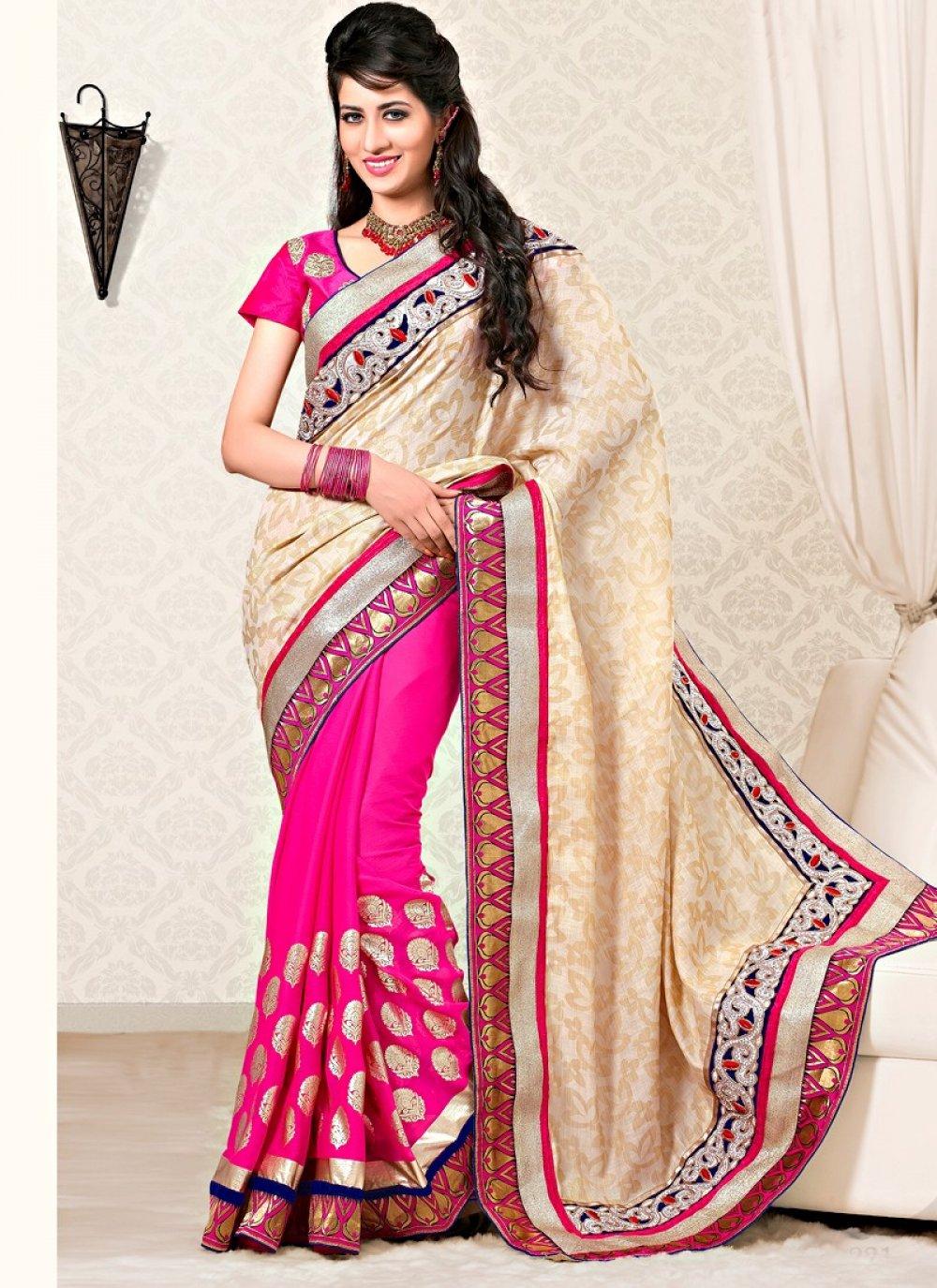 Cream And Pink Color Cottan Silk Half And Half Saree