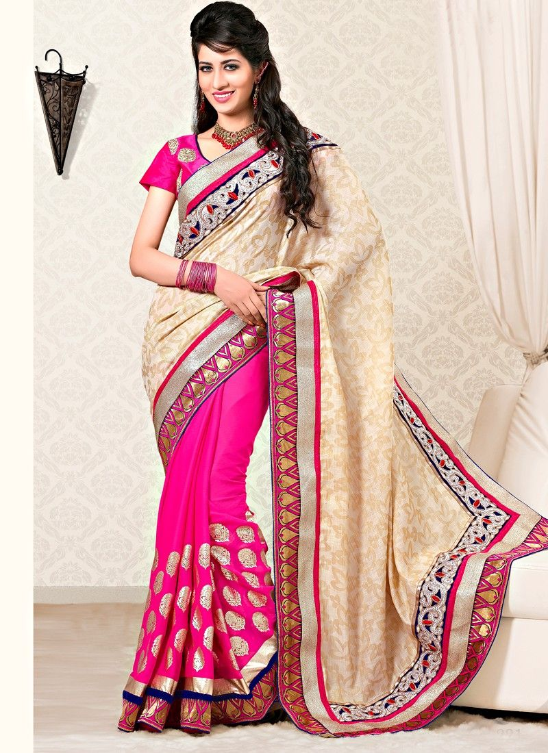 Cream And Pink Color Cottan Silk Half And Half Saree