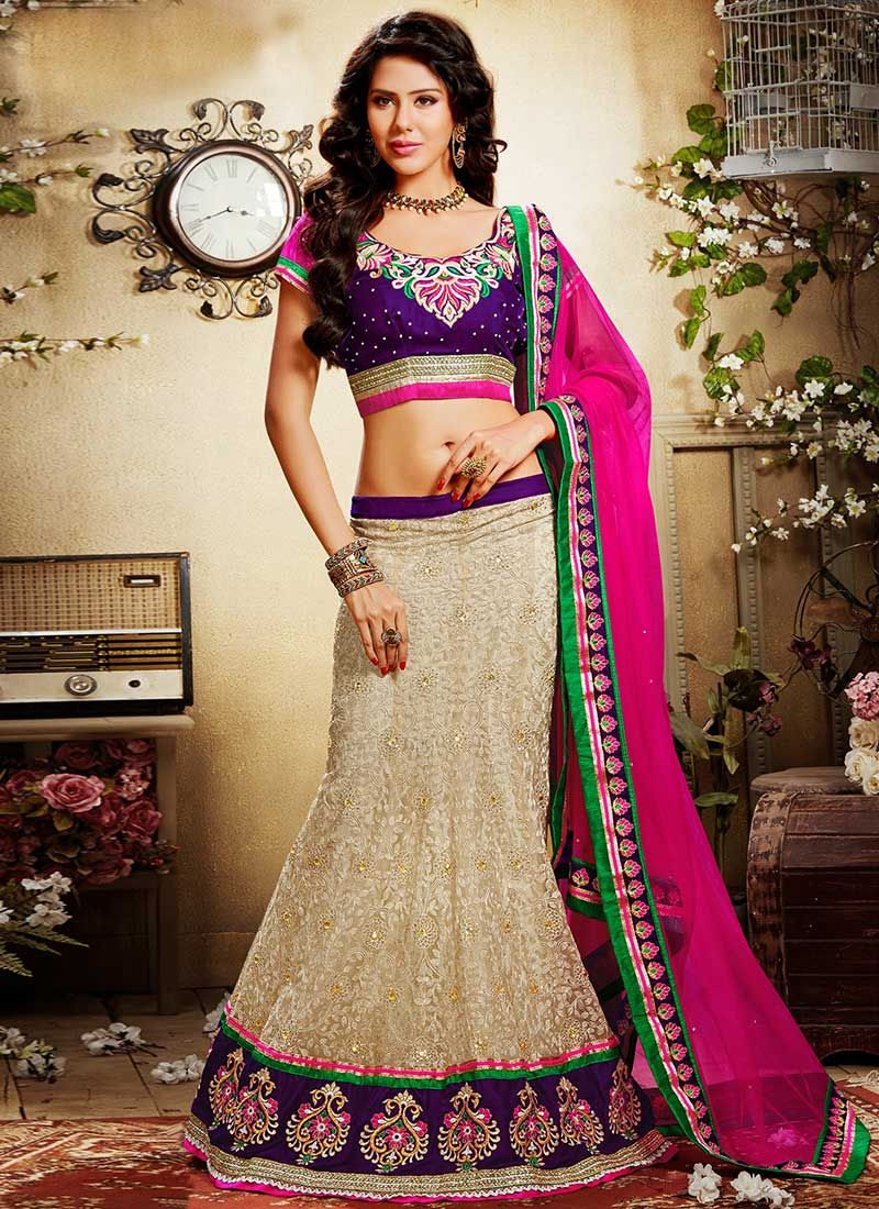 Cream Hemline Worked Net Lehenga Choli