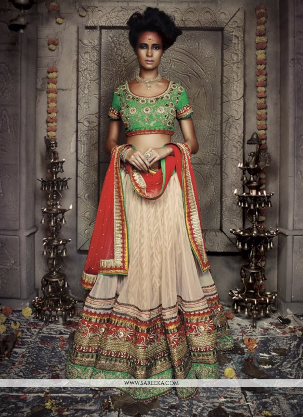 Cream Net And Jacquard Wedding Lehenga Choli