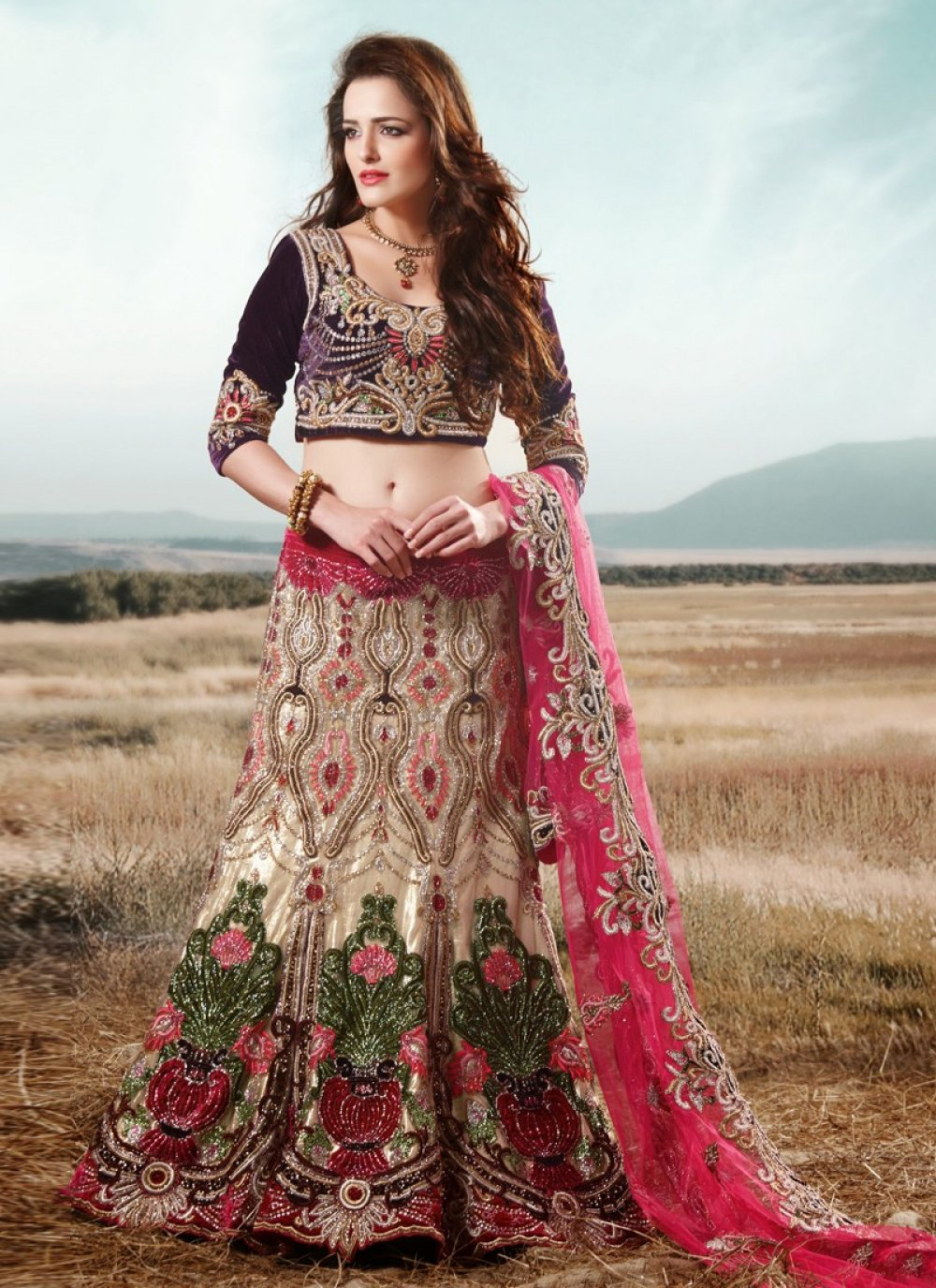 Cream Net Crystal Work Bridal Lehenga Choli