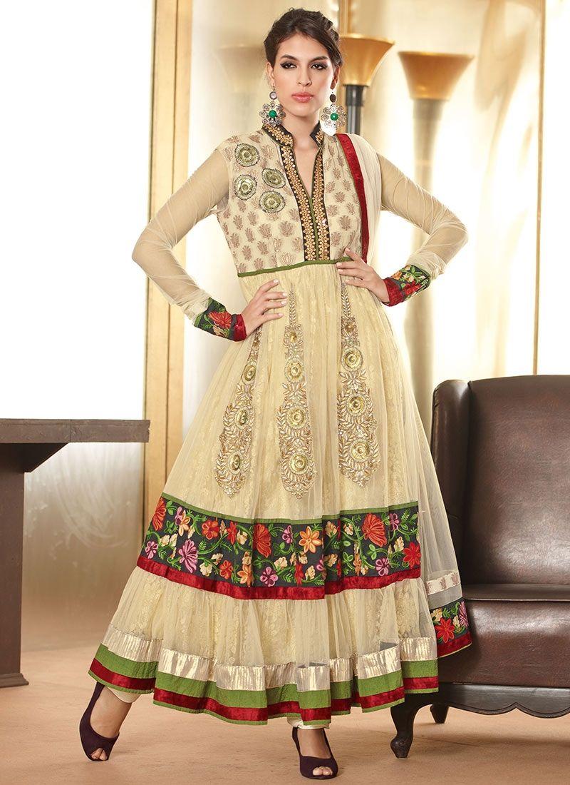 Cream Net Designer Anarkali Suit