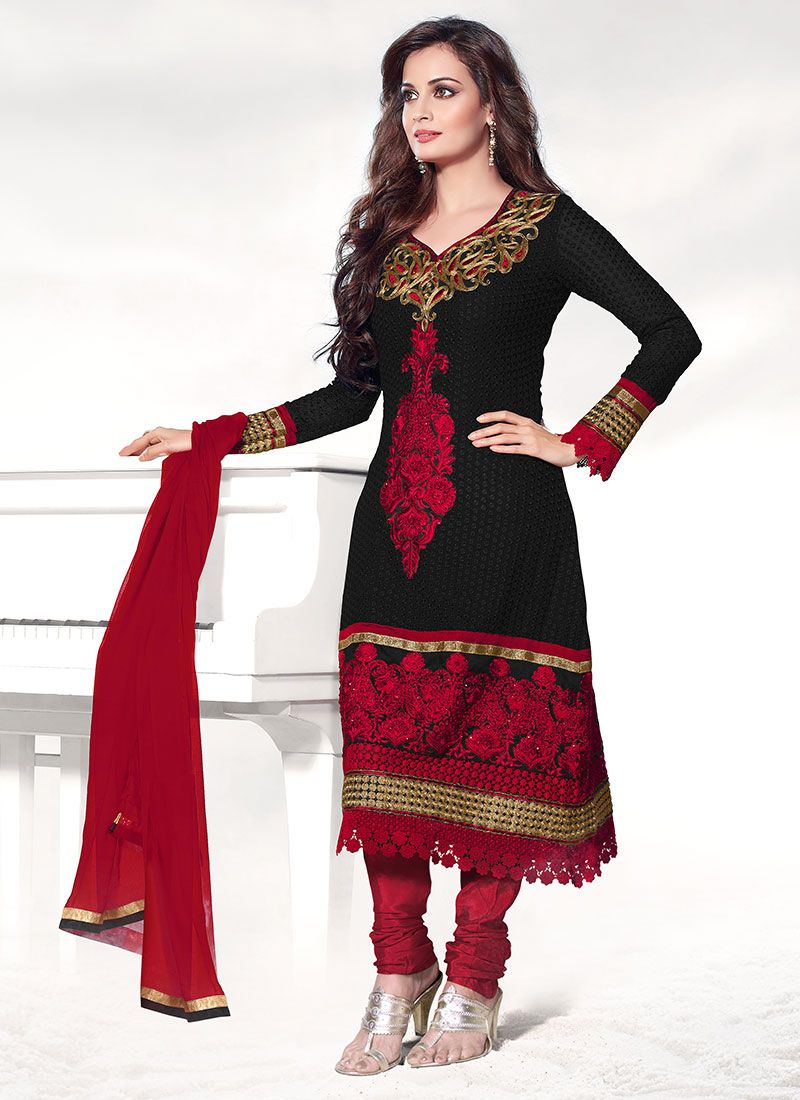 Dia Mirza Embroidered Churidar Suit