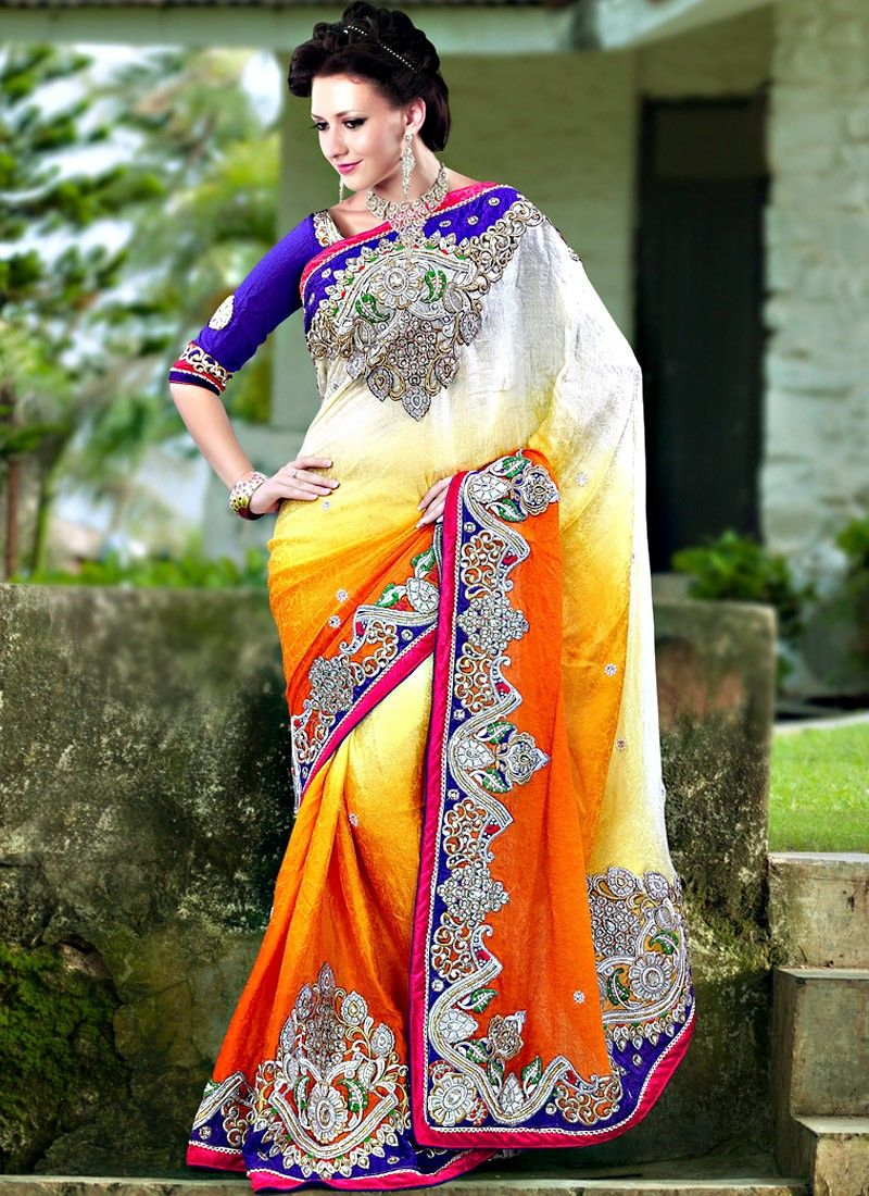 Gold And Off White Crepe Jacquard Saree