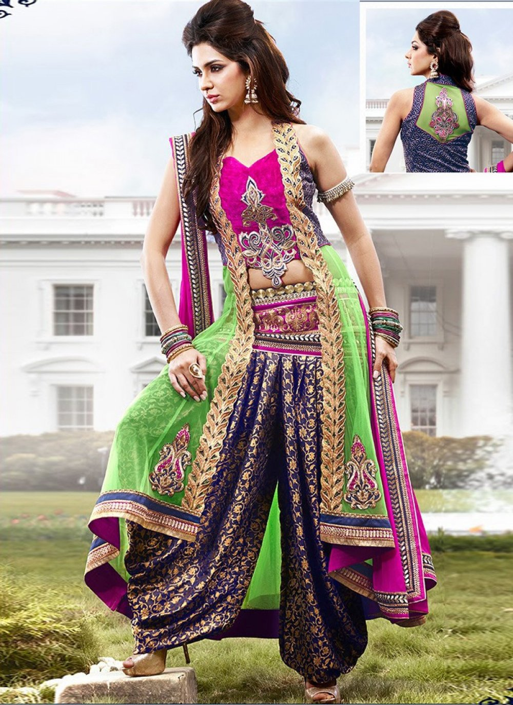 Green And Pink Net Anarkali Suit