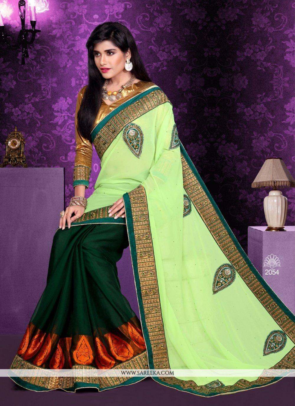 Green Bember Georgette Designer Saree