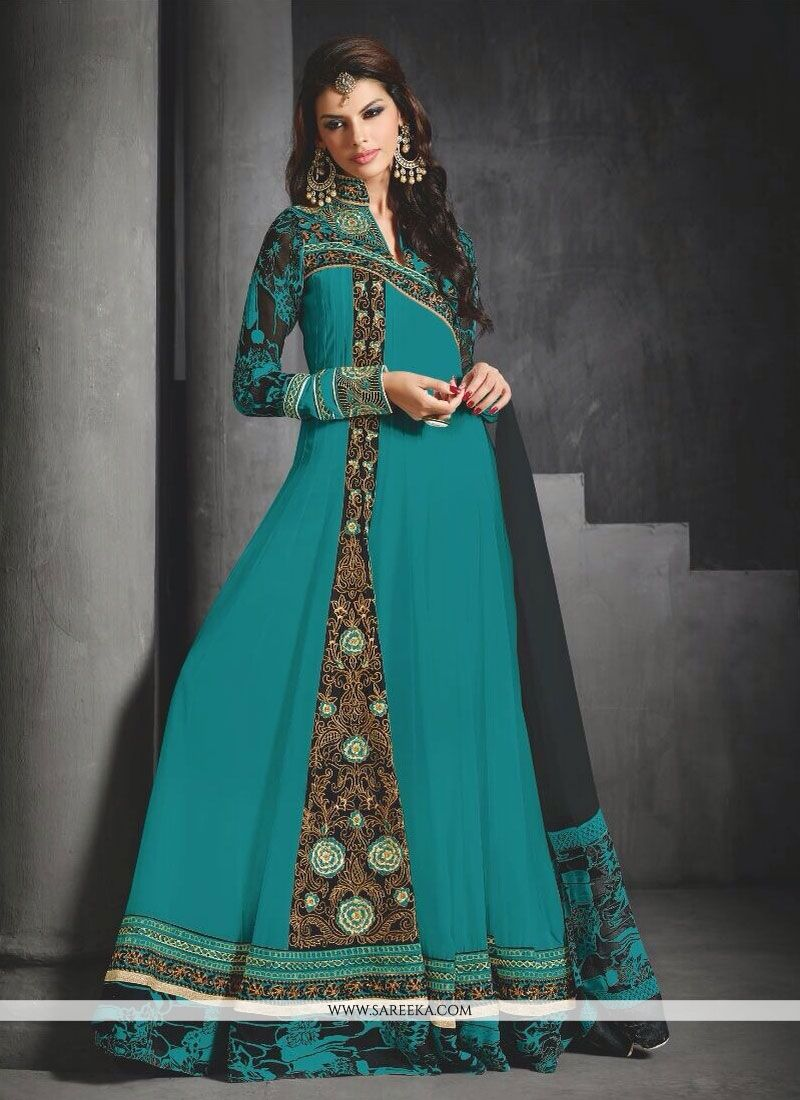 Green Georgette Floor Lenght Anarkali Suit