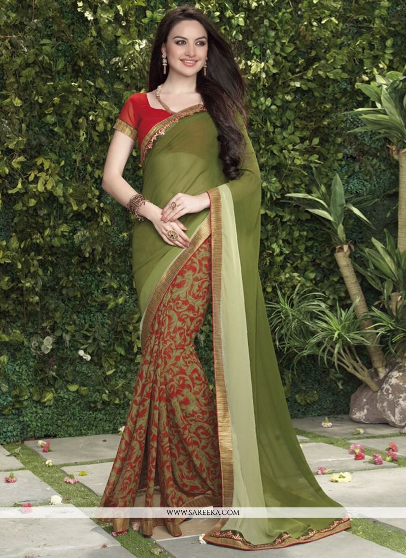 Green Less Georgette Casual Saree
