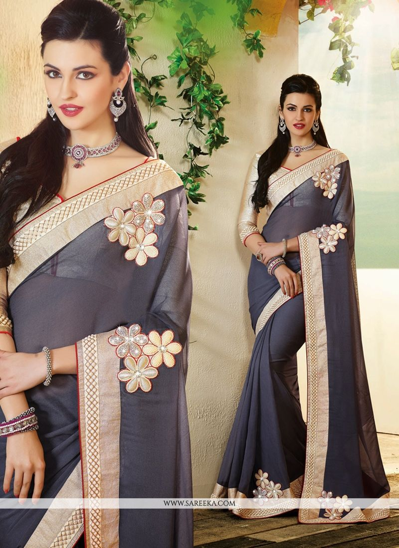 Grey Georgette Designer Saree