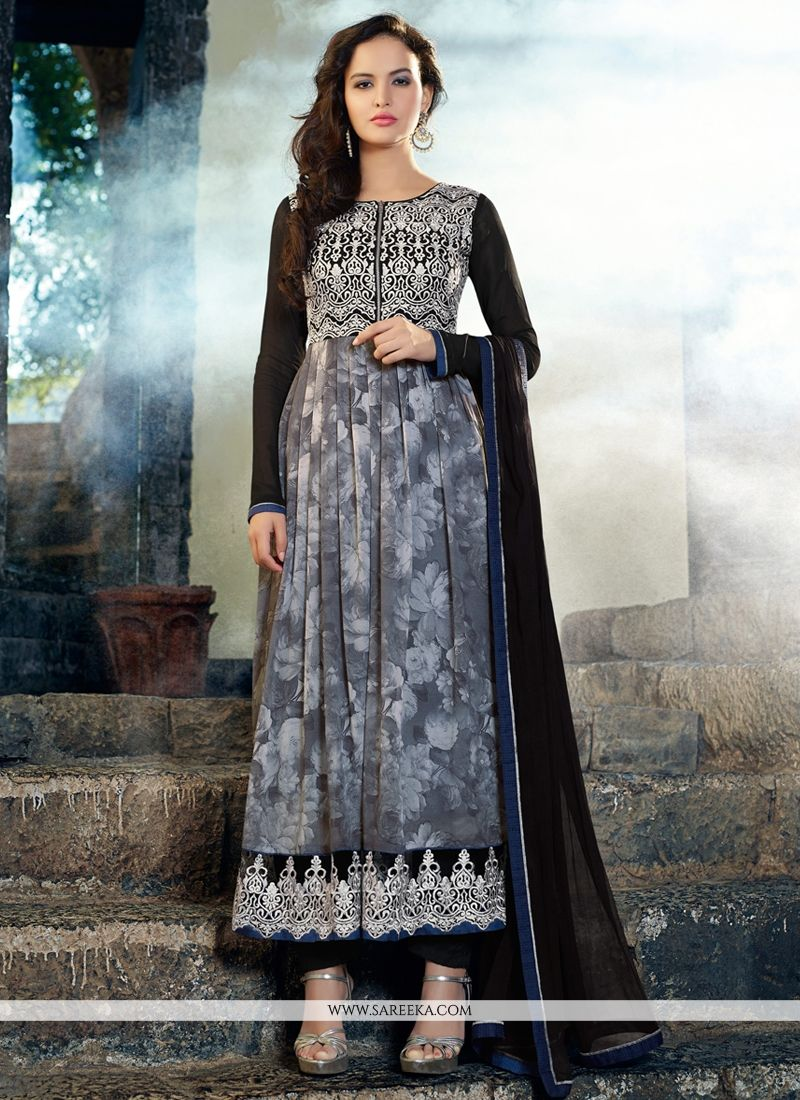 Grey Printed Georgette Anarkali Suit