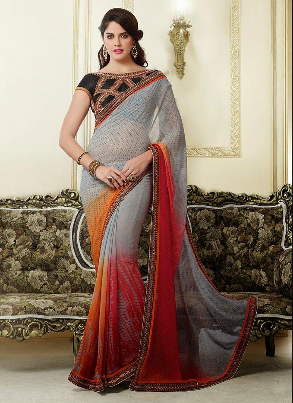 Grey Resham Printed Casual Saree