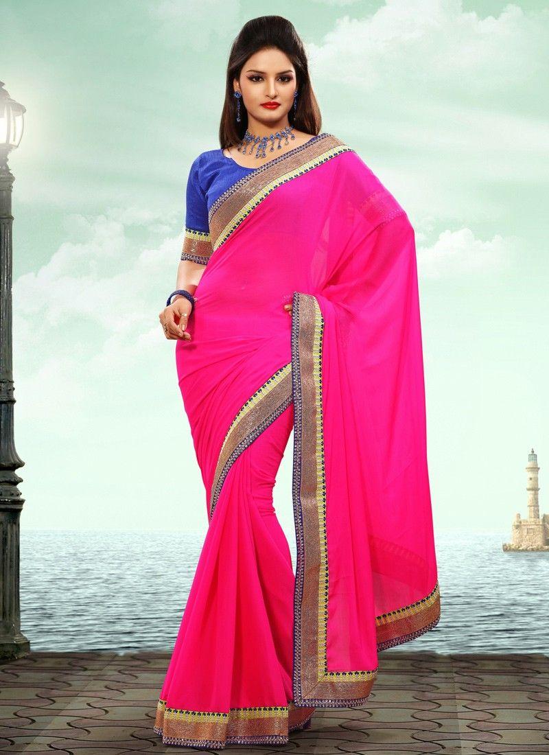 Hot Pink Chiffon Party Wear Saree