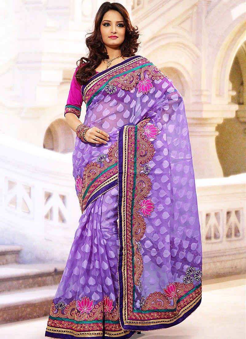 Lavender Jacquard Net Saree