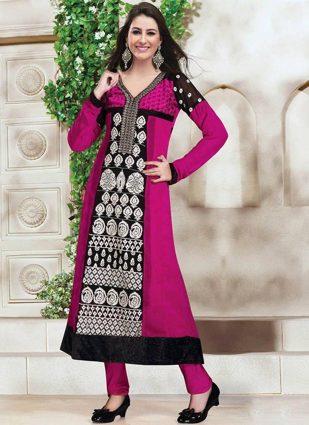 Magenta Embroidered Churidar Suit
