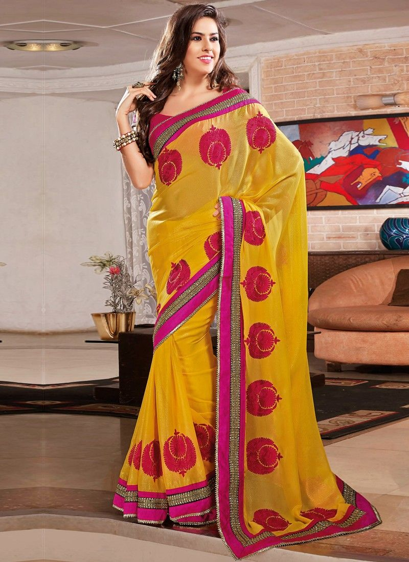 Mustard Border Work Party Wear Saree