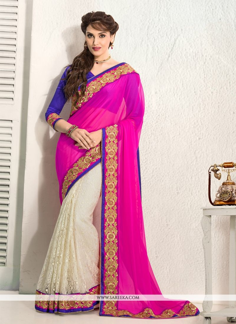 Off White And Pink Chiffon And Net Saree