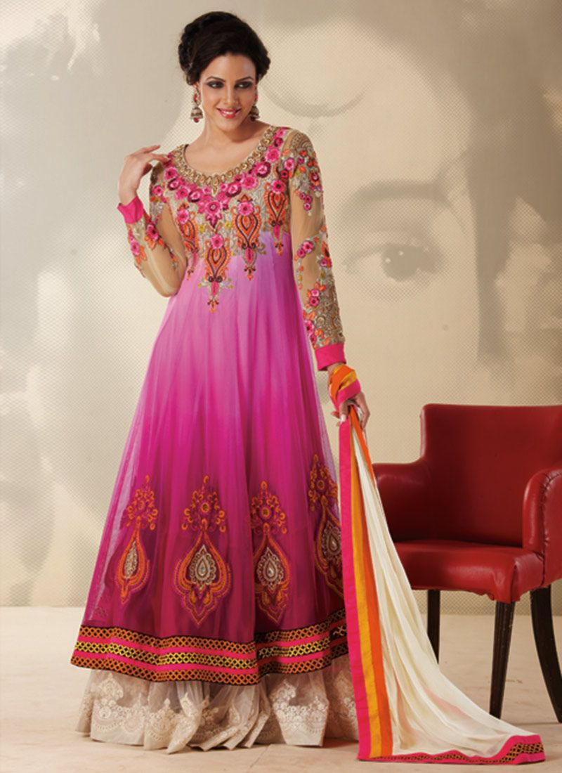 Off White And Pink Floral Work Designer Salwar Suit