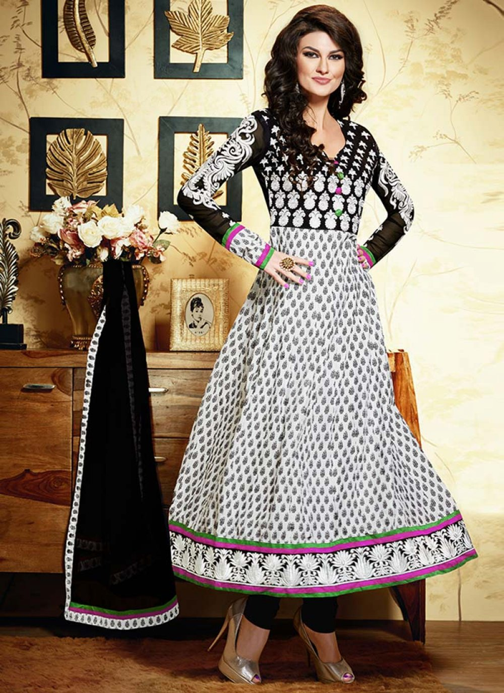 Offf White Embroidered Cotton Anarkali Suit