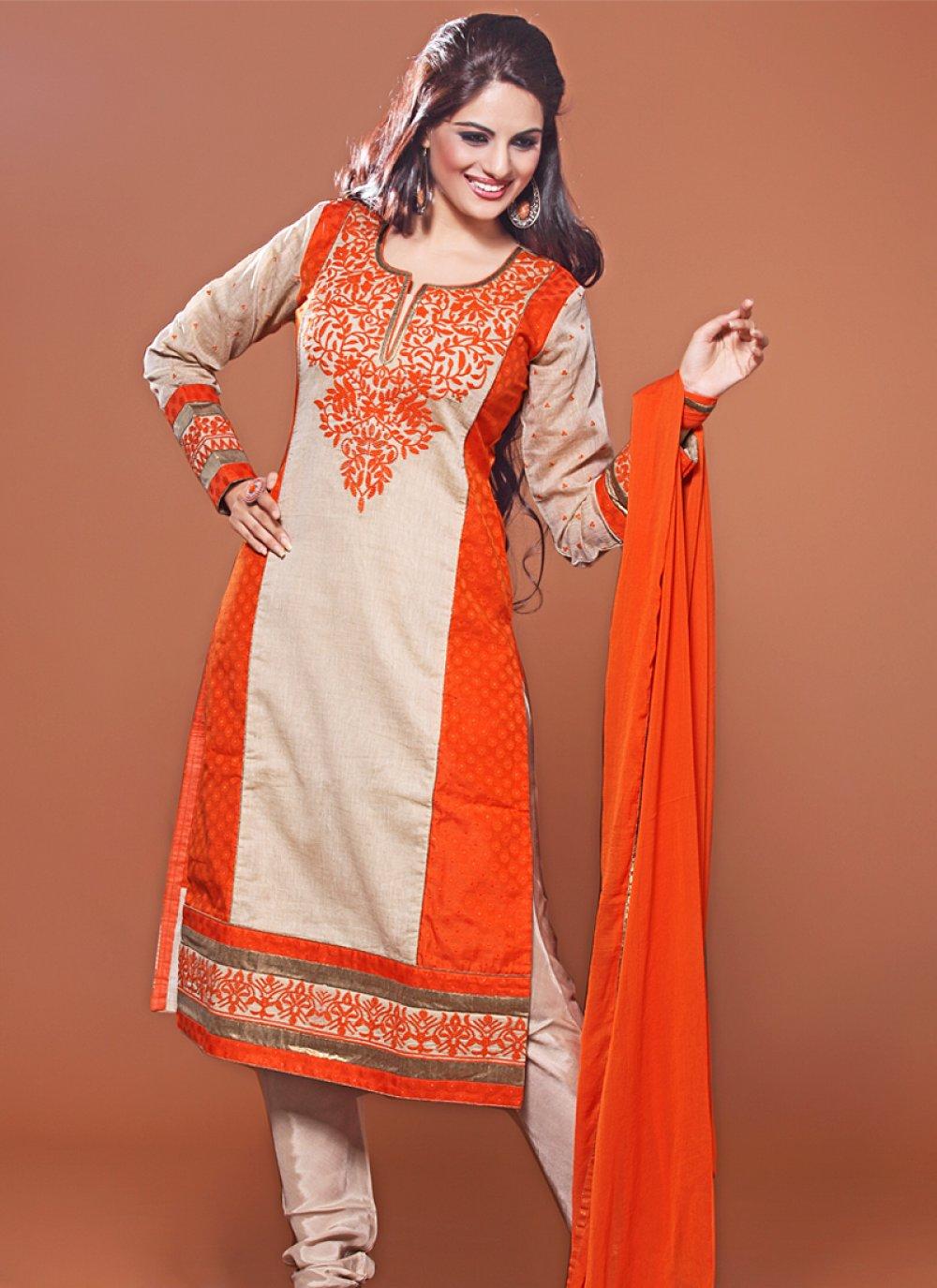 Orange And Beige Resham Work Churidar Salwar Suit