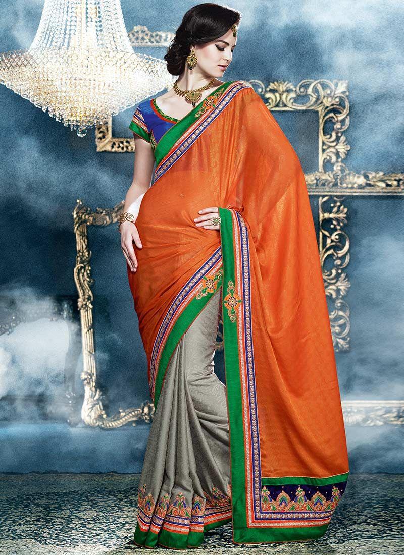 Orange And Grey Fancy Fabric Half And Half Saree