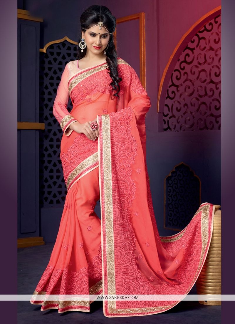 Peach Pure Georgette Designer Saree