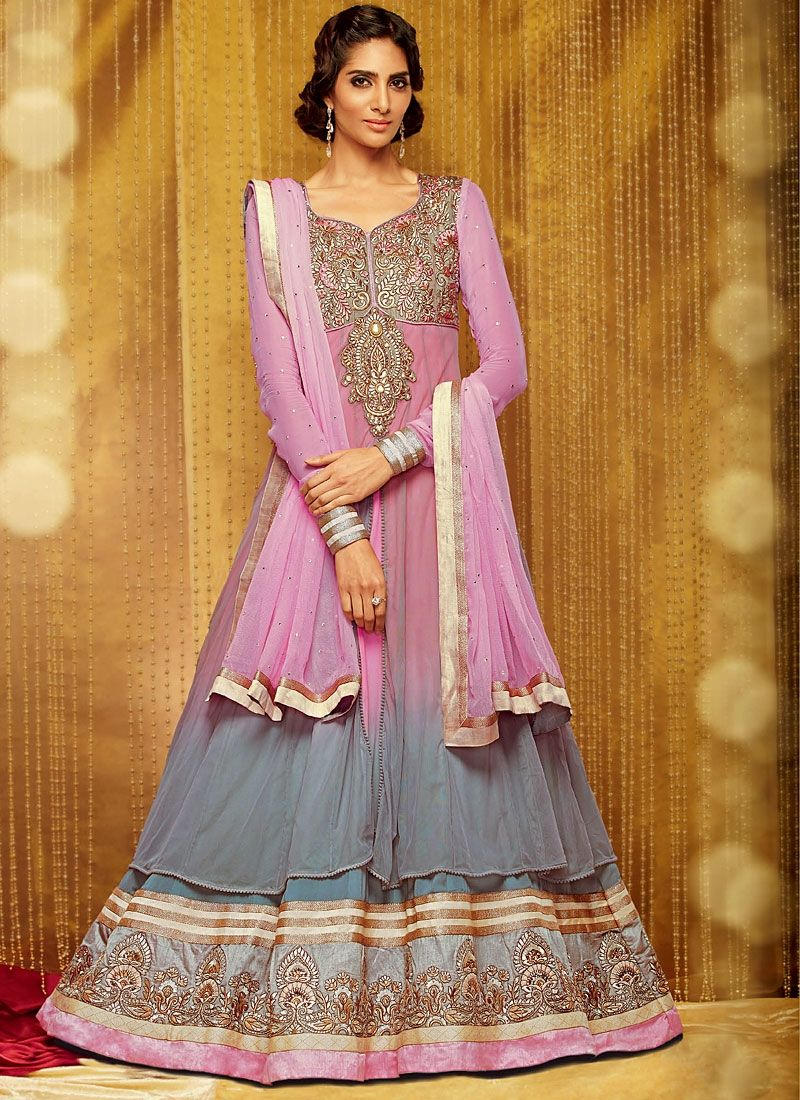 Pink And Grey Stone Work Georgette Anarkali Suit