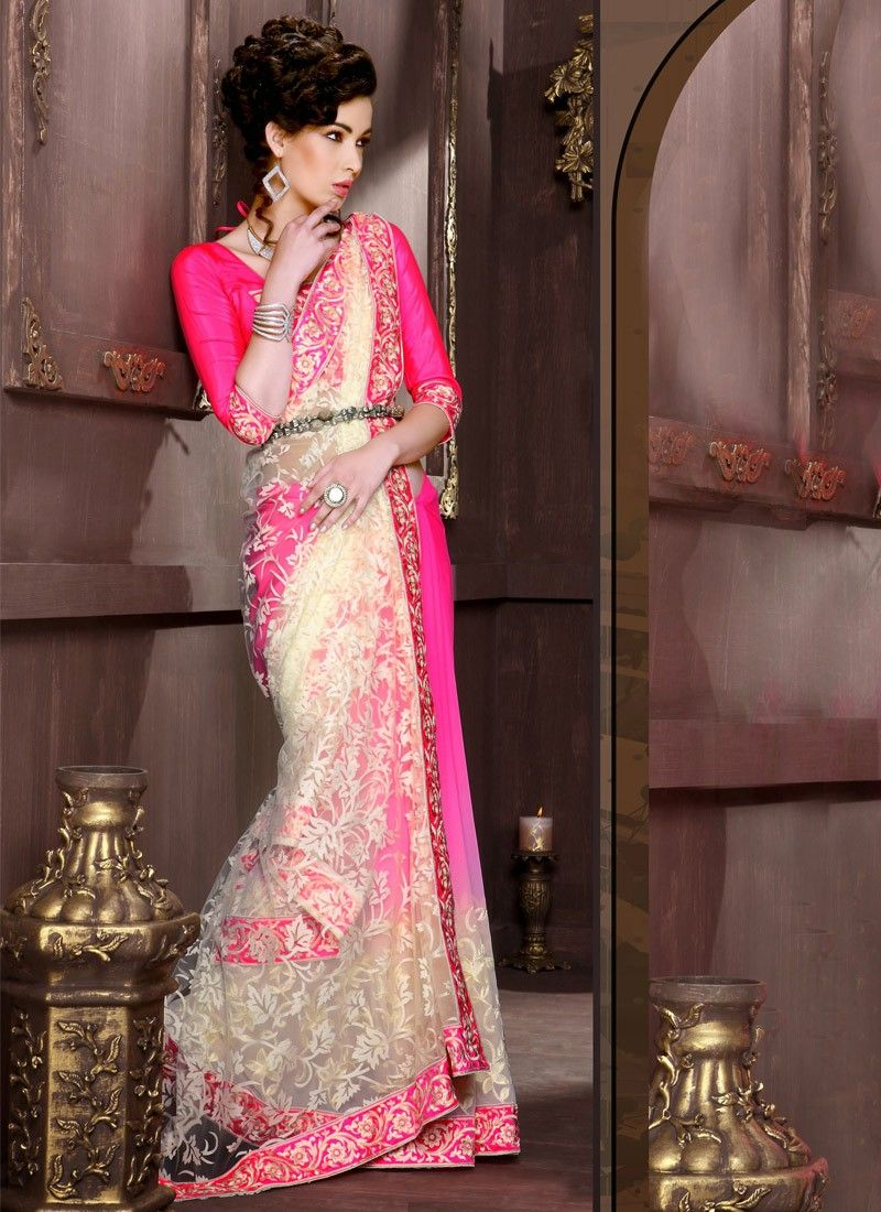 Pink Faux Georgette Half And Half Saree