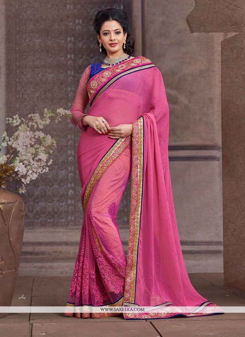 Pink Net And Bember Designer Saree