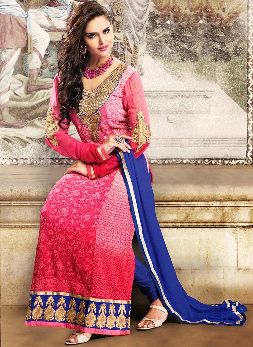 Pink Zari Work Georgette Anarkali Suit