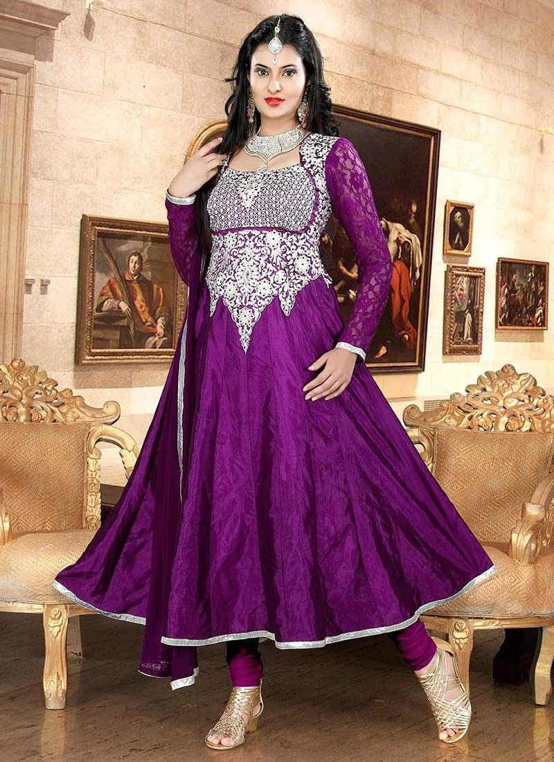Purple Crystals Crepe Silk Anarkali Suit