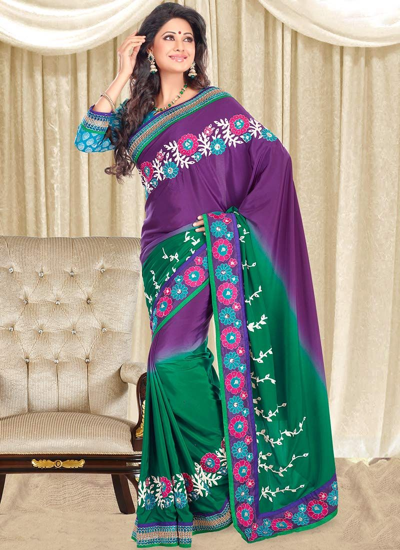 Purple Embroidered Crepe Saree