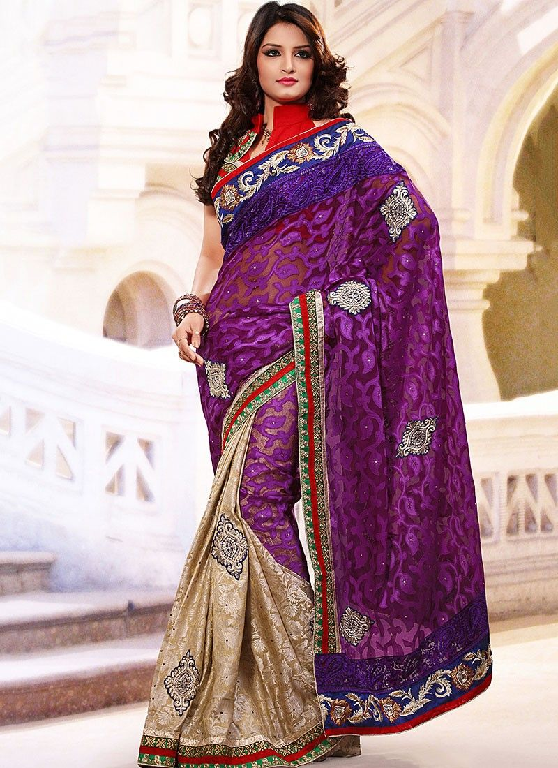 Purple Net And Nylon Jacquard Saree