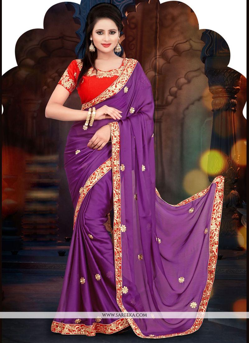 Purple Satin Chiffon Casual Saree