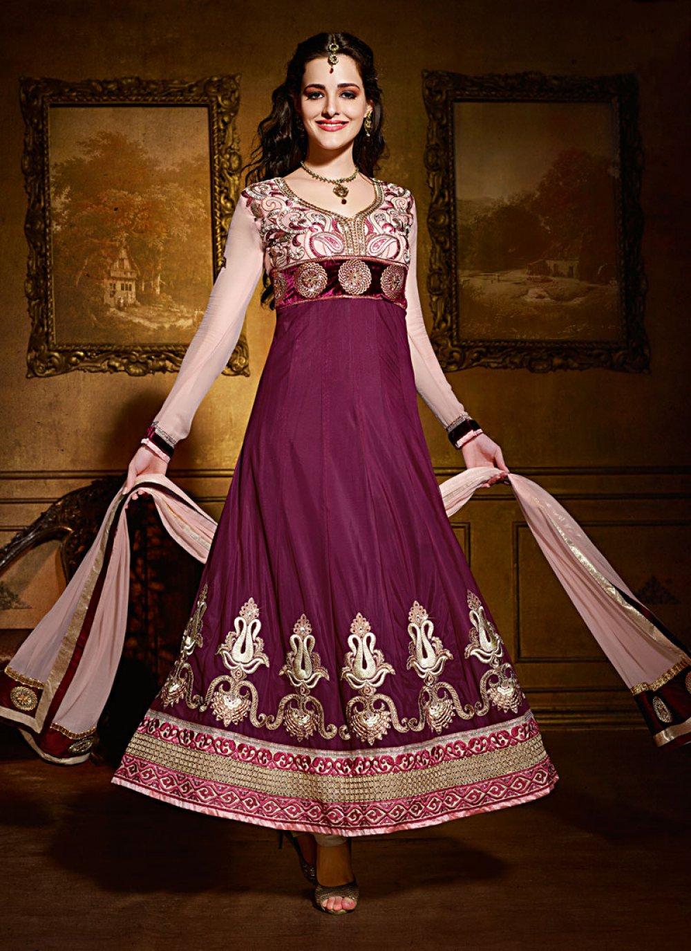 Purple Viscose Faux Georgette Anarkali Suit