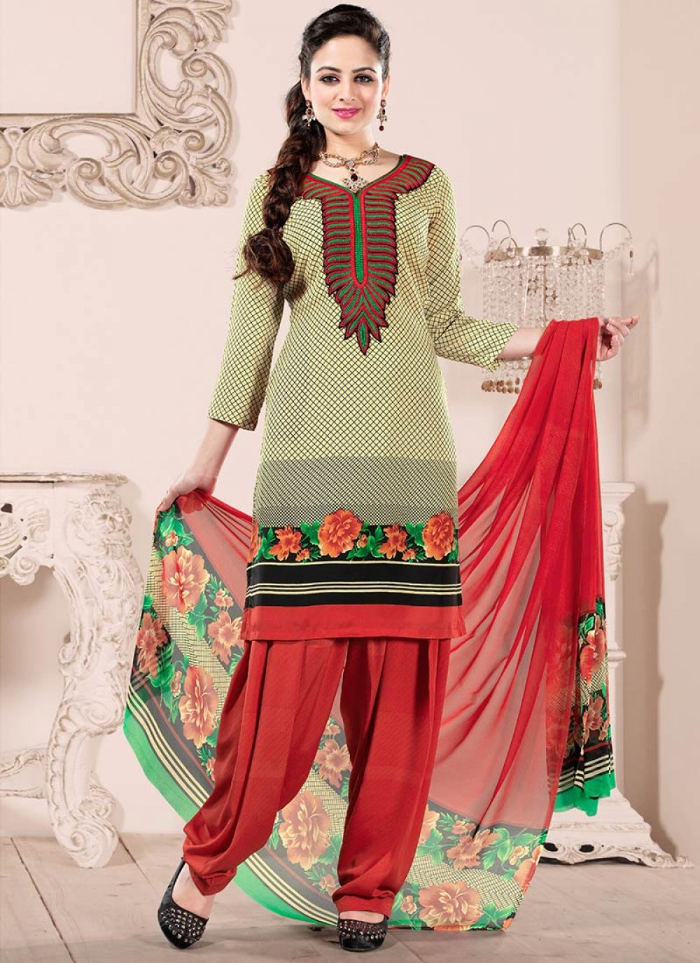 Red And Cream Crepe Salwar Suit