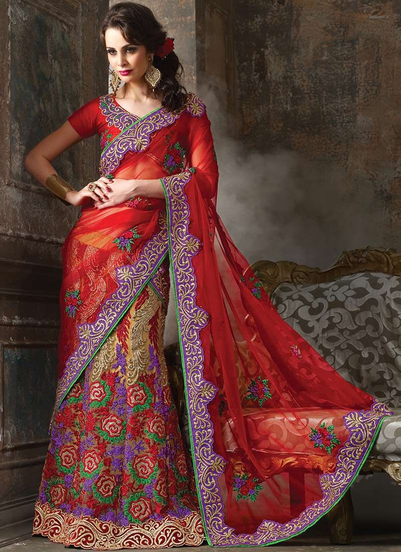 Red Net Resham Lehenga Choli