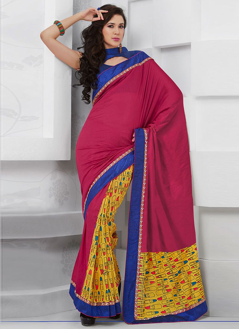 Latest Red Printed Half And Half Saree