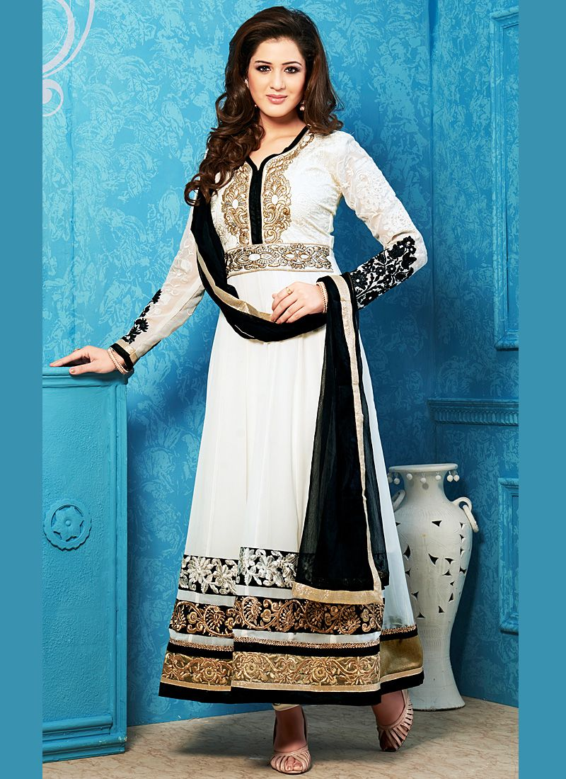 White And Black Zari Work Net Anarkali Suit