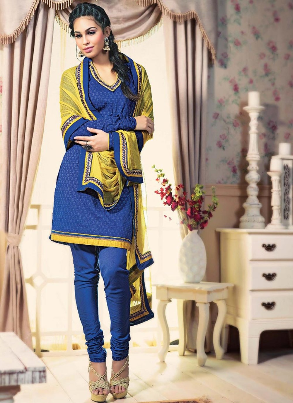 Yellow And Blue Printed Cotton Churidar Suit
