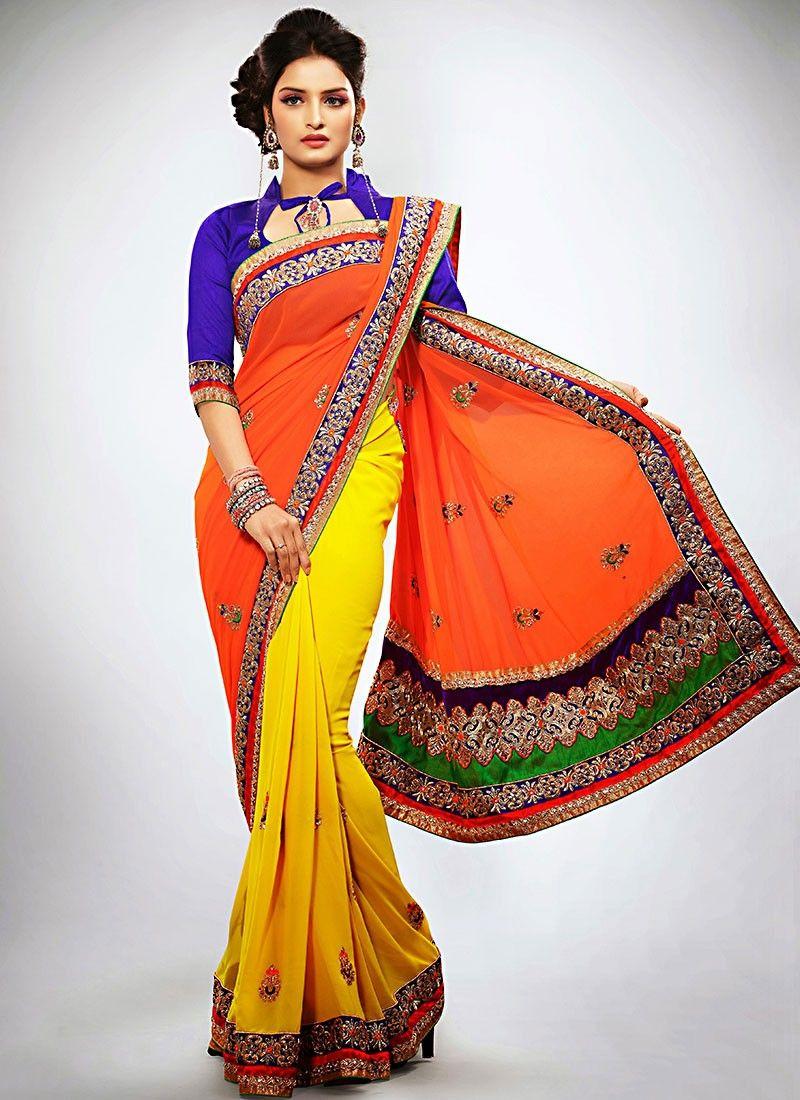 Yellow And Orange Half And Half Saree