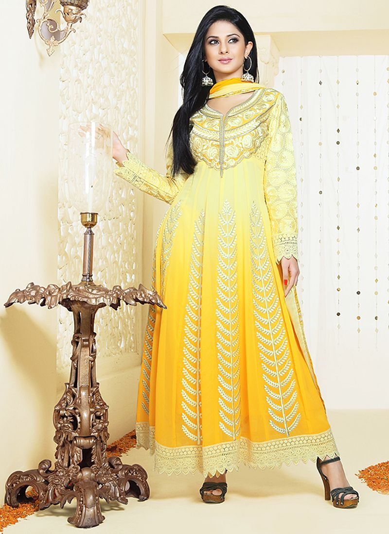 Yellow Resham Patch Border Georgette Anarkali Suit