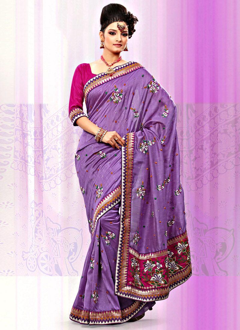 Lavender Art Bhagalpuri Silk Saree