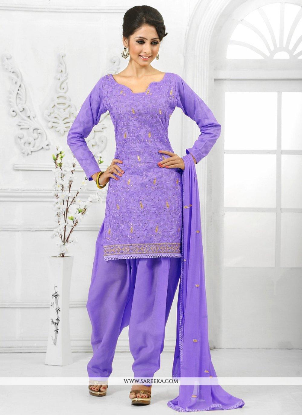 Lavender Cotton   Salwar Suit