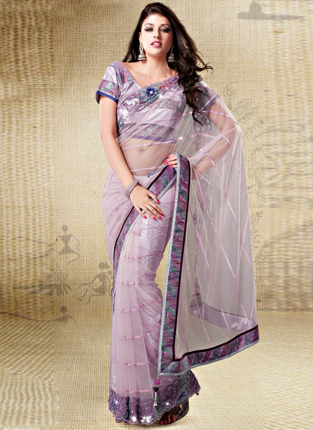 Lavender Net Embroidered Saree