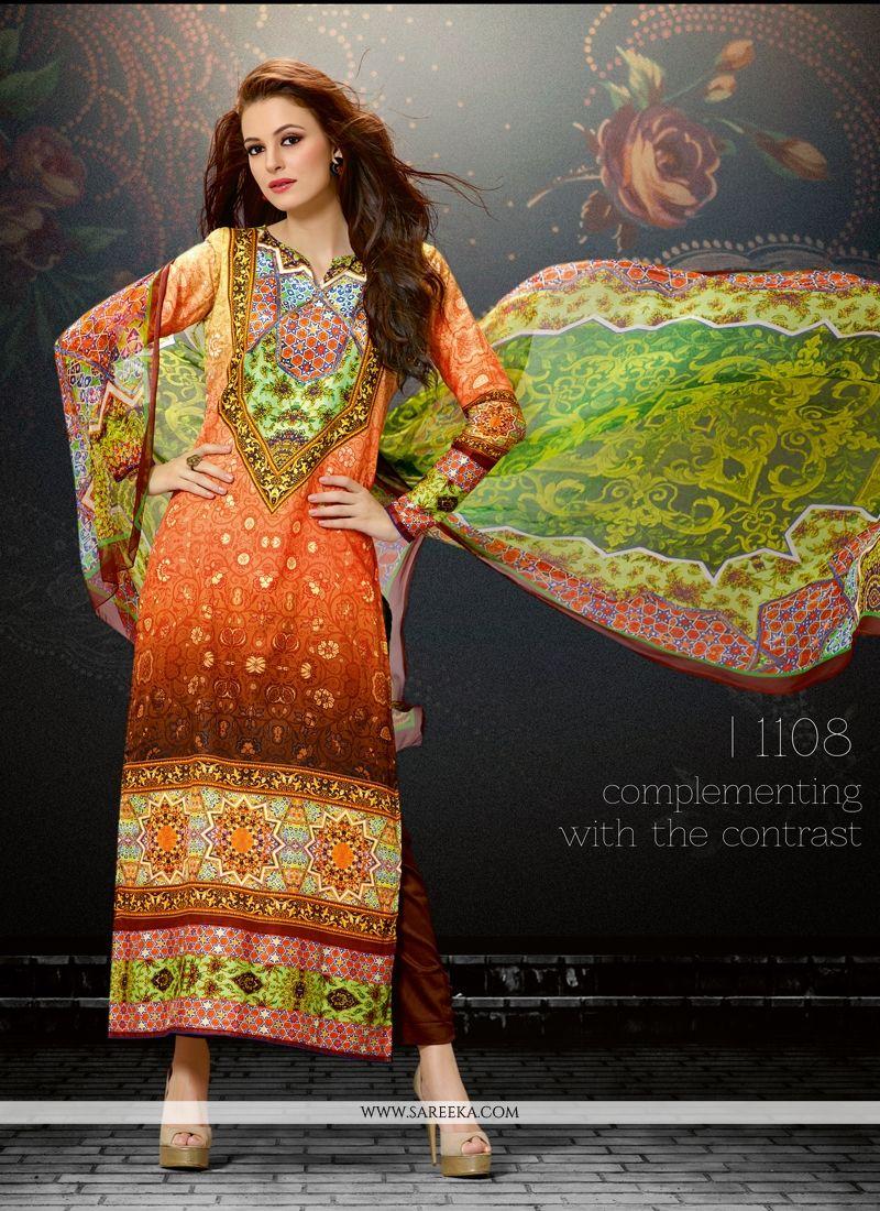Digital Print Work Multi Colour Designer Straight Salwar Suit