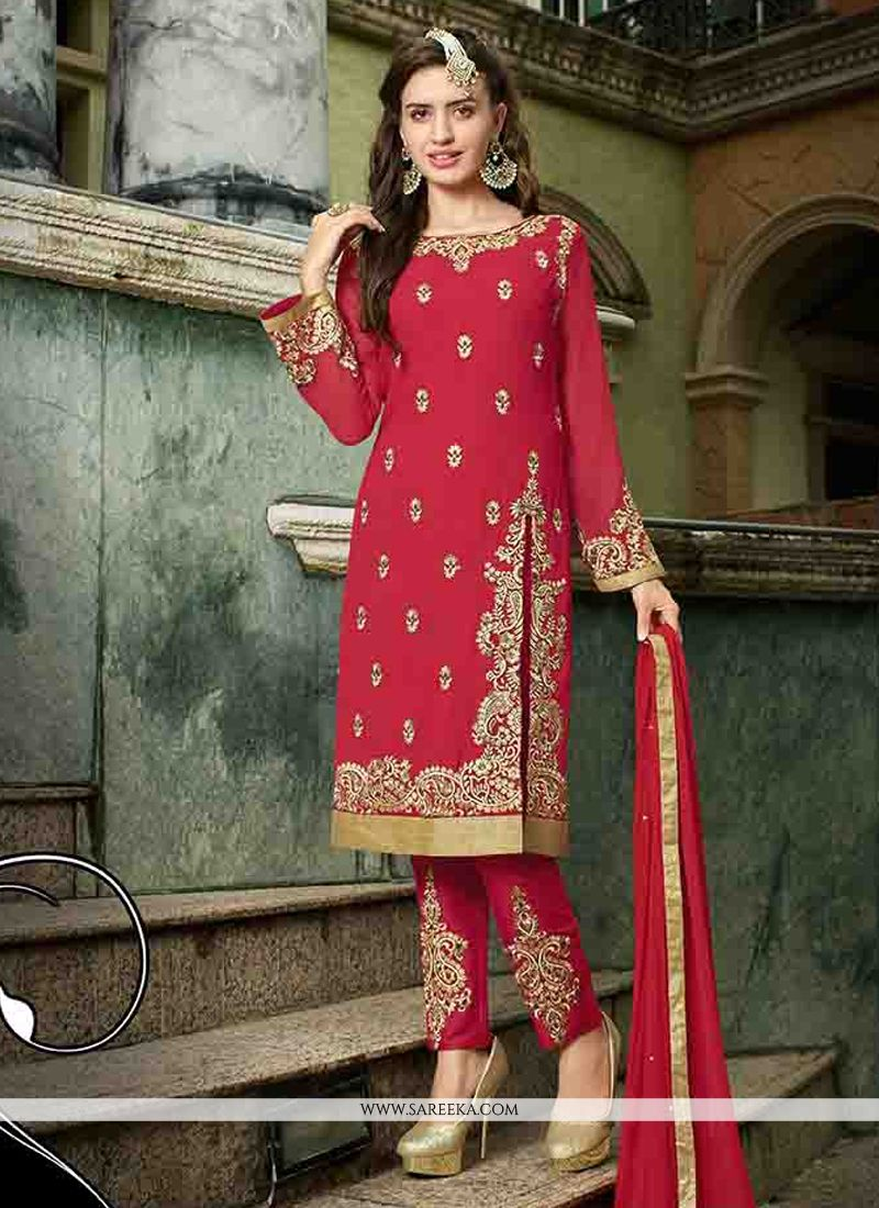 Georgette Red Straight Suit