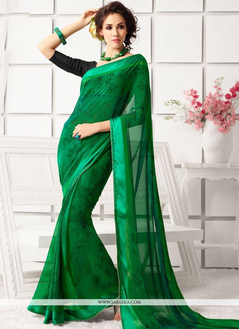 Green Print Work Casual Saree